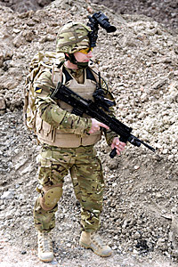 Soldier wearing body armour